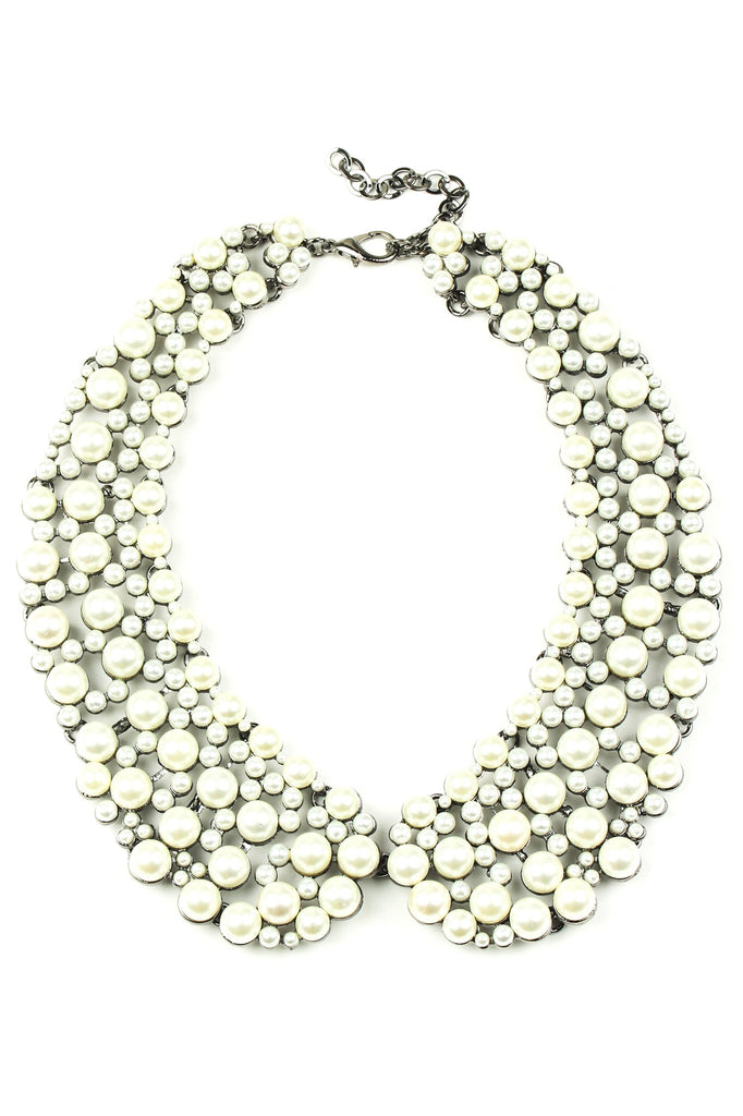 Diana Collar Necklace - Silver Pearl