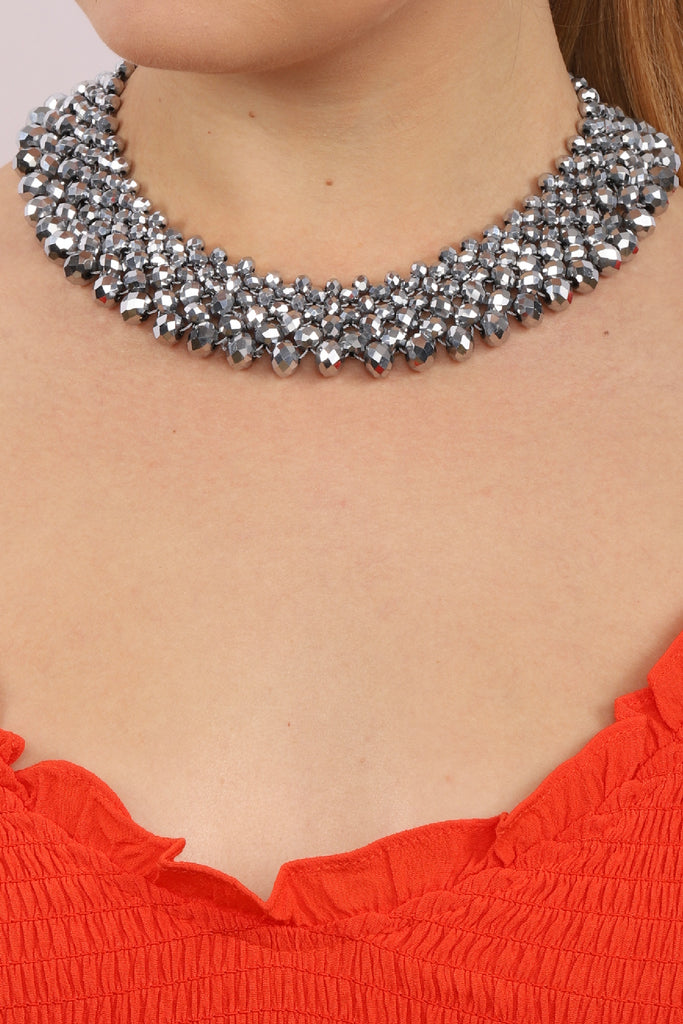 Anita Statement Necklace - Charcoal Grey