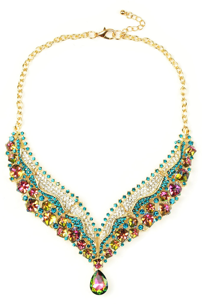 Arielle Statement Necklace - Green / Turquoise / Crystal