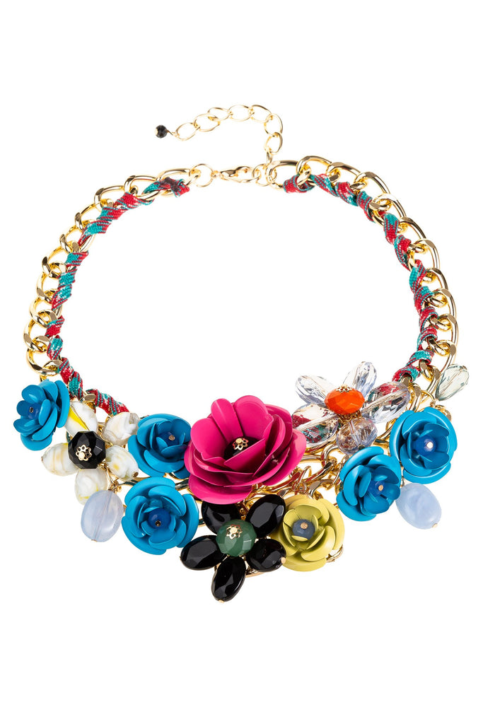 Bouquet Statement Necklace - Blue / Gold