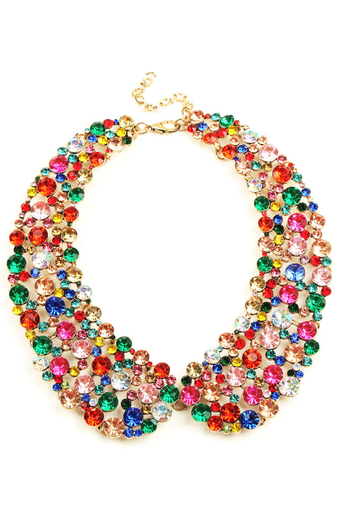 12 inch gold collar necklace with colorful circular crystals arranged in collar pattern.