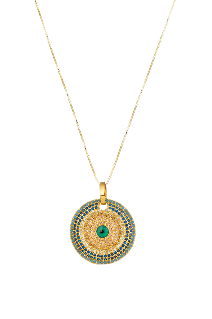 14k gold plated sterling silver evil eye necklace studded with CZ crystals.