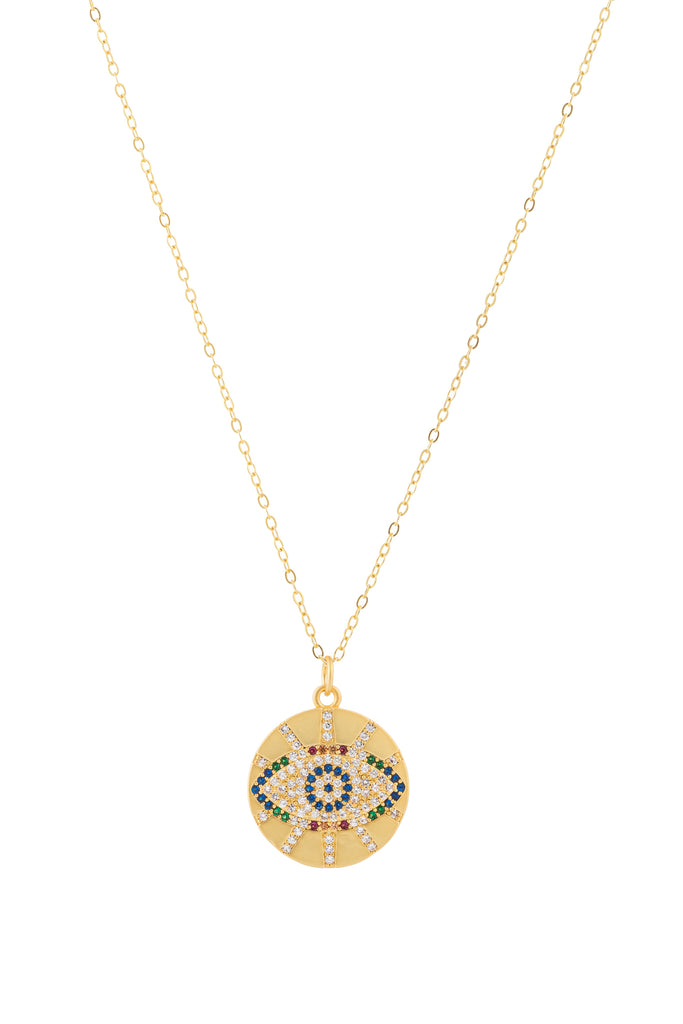 Sterling silver chain necklace with an evil eye brass pendant & CZ crystals.