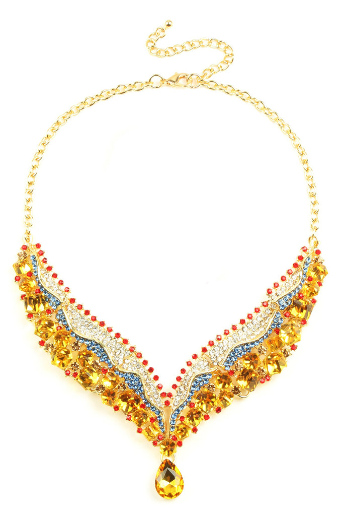 Arielle Statement Necklace - Yellow / Blue / Red