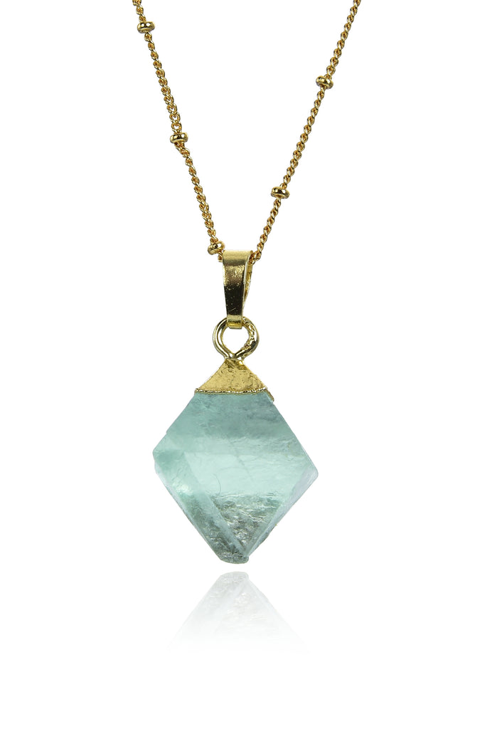 Gold chain necklace with medium sized green fluroite diamond shaped crystal pendant.