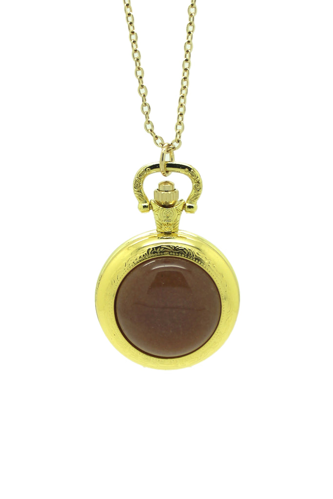 Red Aventurine Pocket Watch Pendant Necklace - Gold