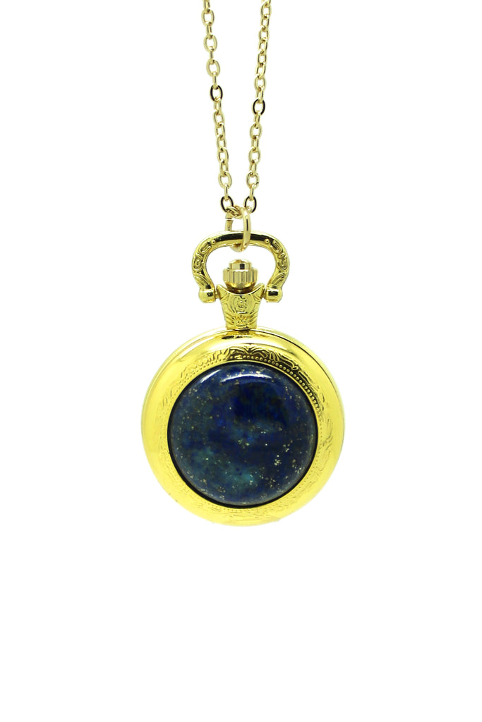 Lapis Stone Pocket Watch Pendant Necklace - Gold