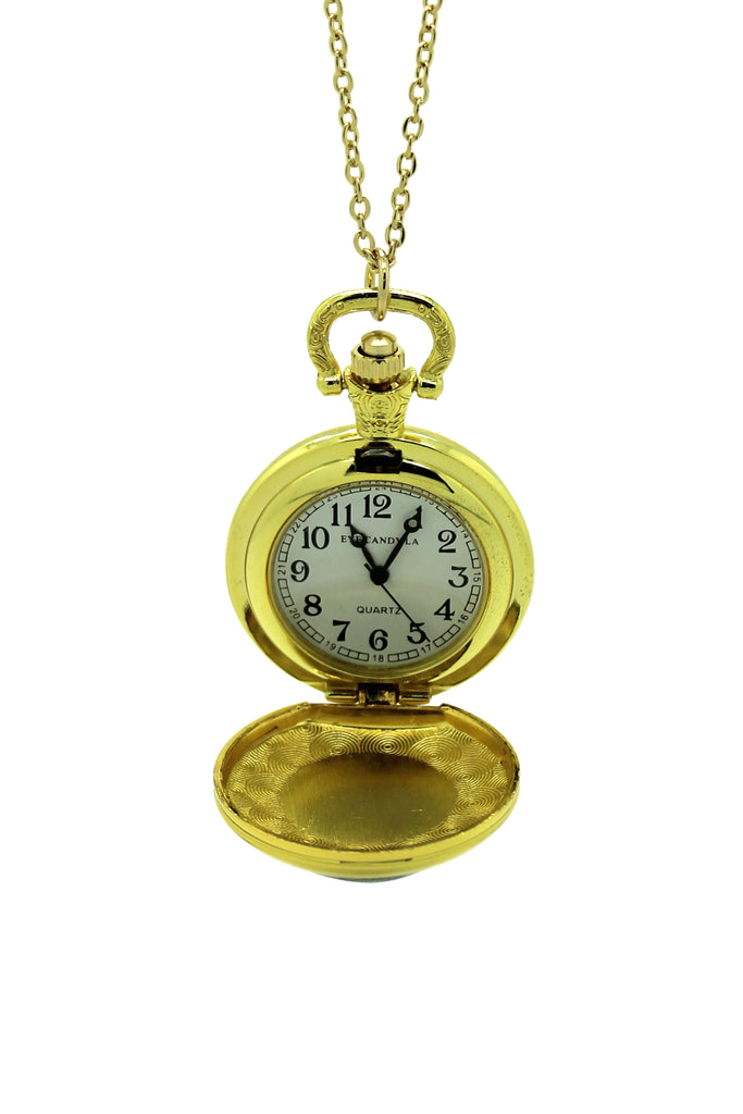 Pyrite Stone Pocket Watch Pendant Necklace - Gold