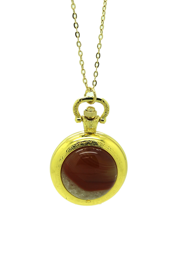 Red Agate Pocket Watch Pendant Necklace - Gold