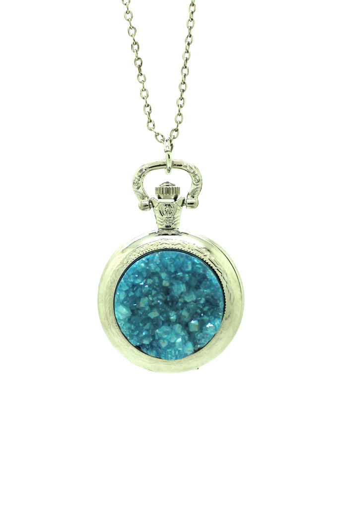 Blue Druzy Stone Pocket Watch Pendant Necklace - Silver