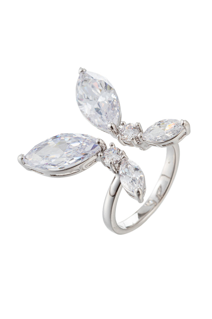 Butterfly wing ring student with CZ crystals.