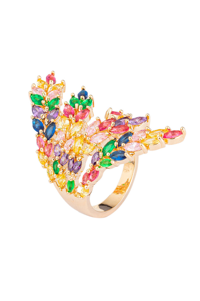 Rainbow CZ crystal ring.