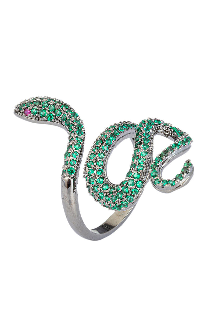 Green snake CZ crystal ring.