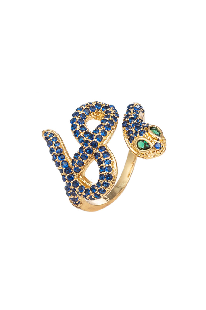 Black gold cobra snake ring studded with CZ crystals.