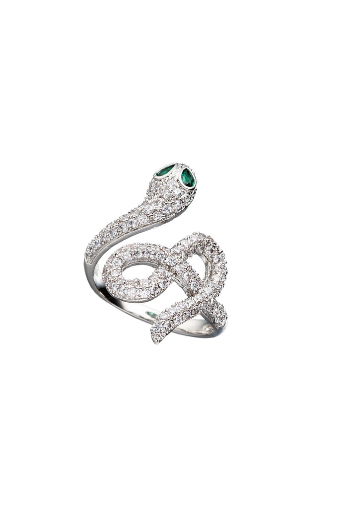 Zayden Adjustable Silver Snake CZ Ring