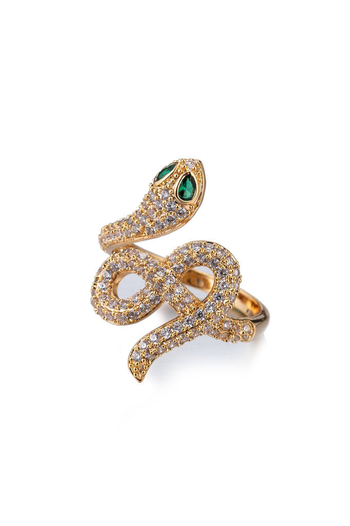Zayden Adjustable 18K Gold Plated CZ  Snake Ring