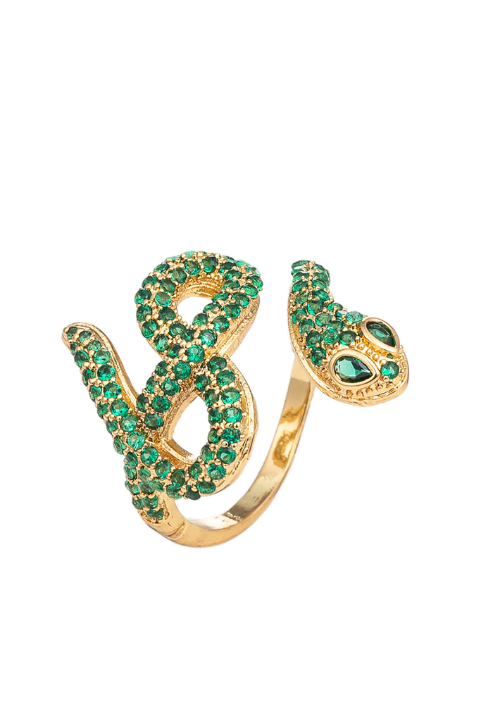 Zayden 18K Gold Plated CZ Adjustable Gold and Green Snake Ring