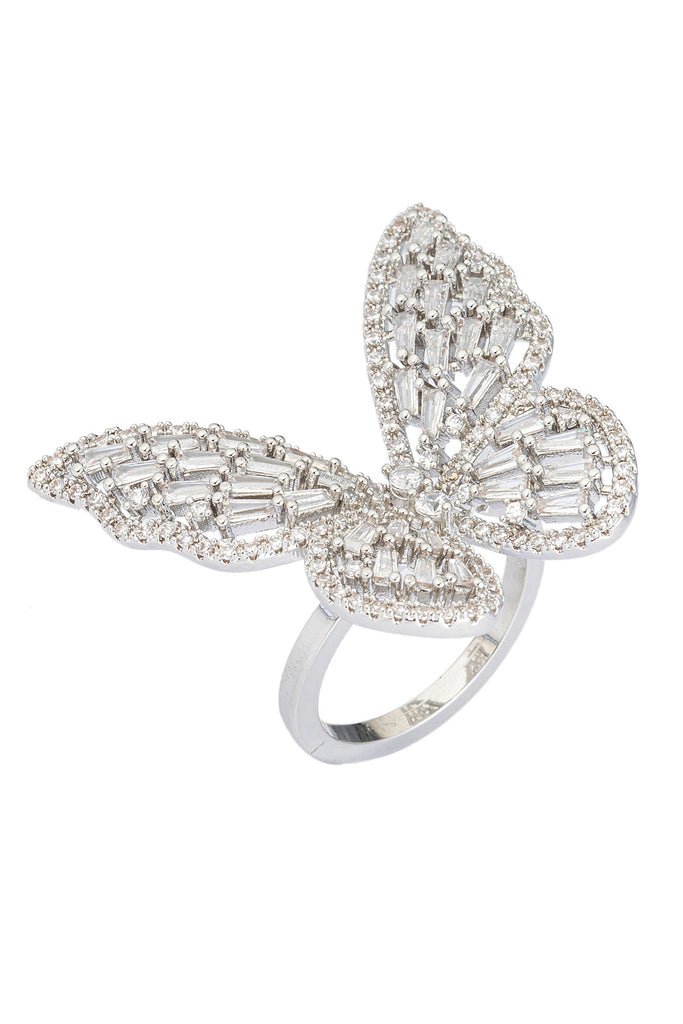 Silver butterfly ring studded with CZ crystals.