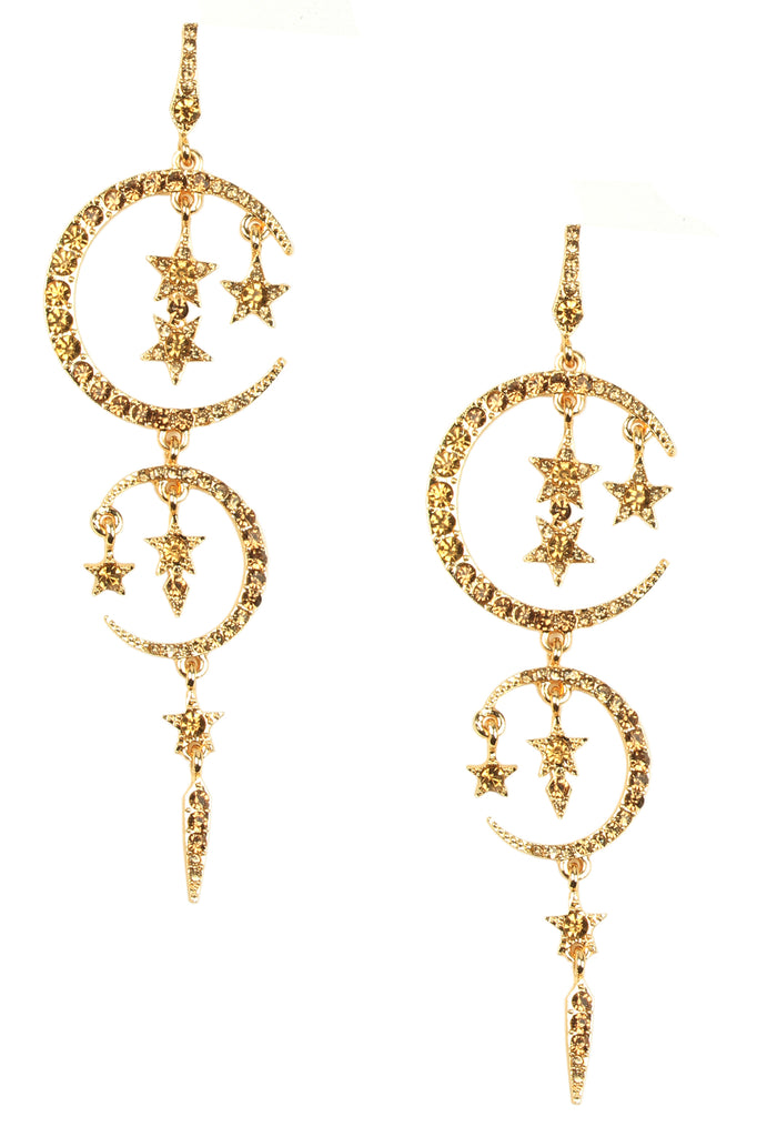 Moon Drop Earrings - Gold