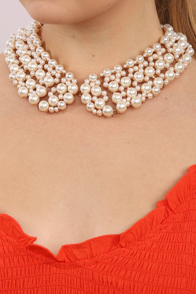 Diana Collar Necklace - Pearl Gold
