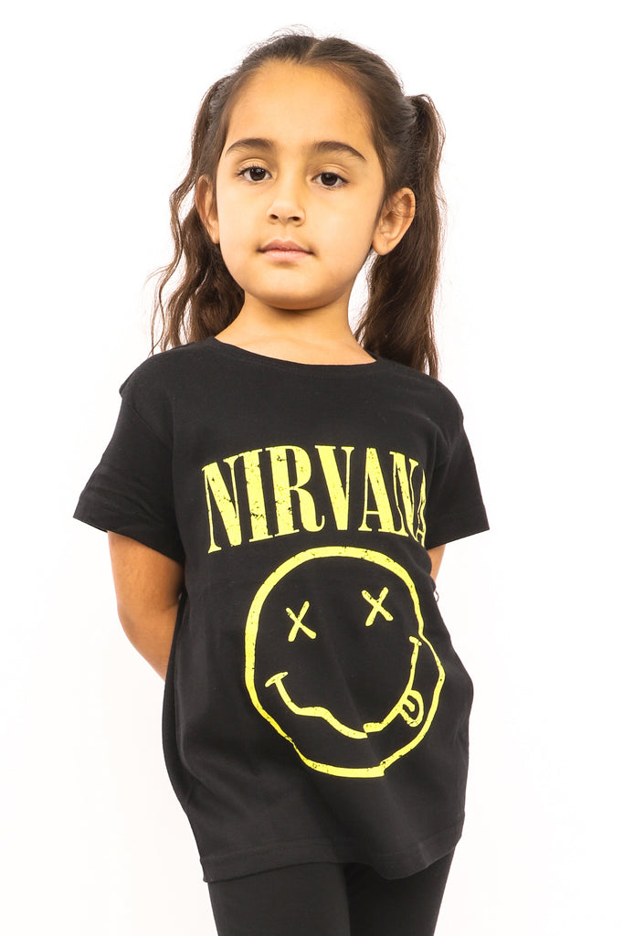 Kid's Nirvana T-Shirt - Yellow Smiley - Black (Boys and Girls)