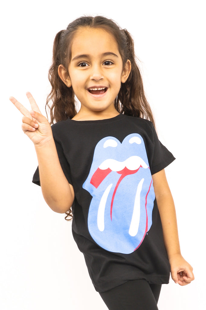Kid's Rolling Stones T-Shirt - Blue & Lonesome Classic Tongue - Black (Boys and Girls)
