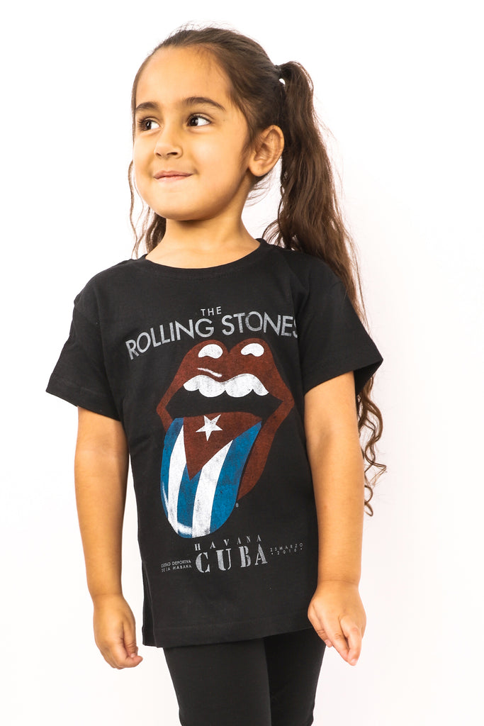 Kid's Rolling Stones T-Shirt - Cuba Tongue - Black (Boys and Girls)