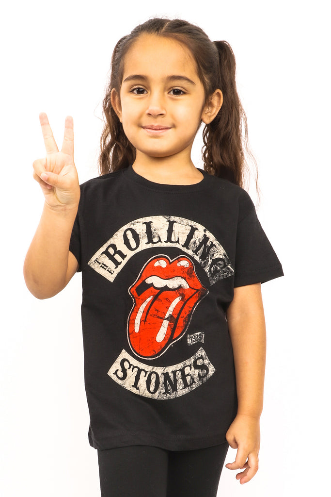 Kid's Rolling Stones T-Shirt - Tour '78 Tongue Logo - Black (Boys and Girls)