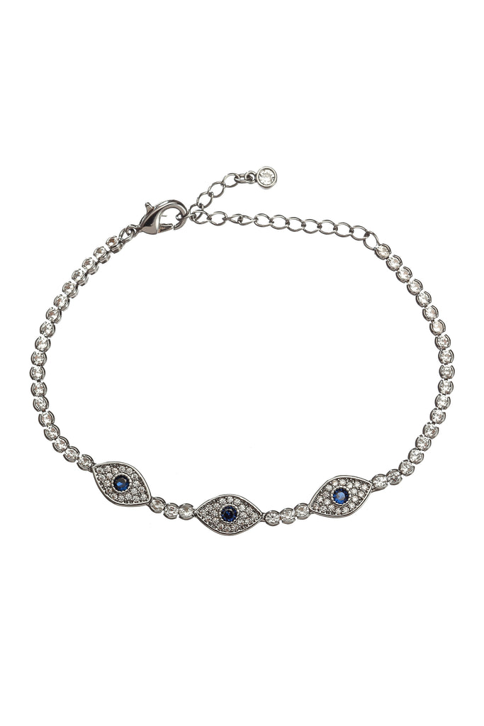 Silver triple evil eye charm bracelet studded with CZ crystals.