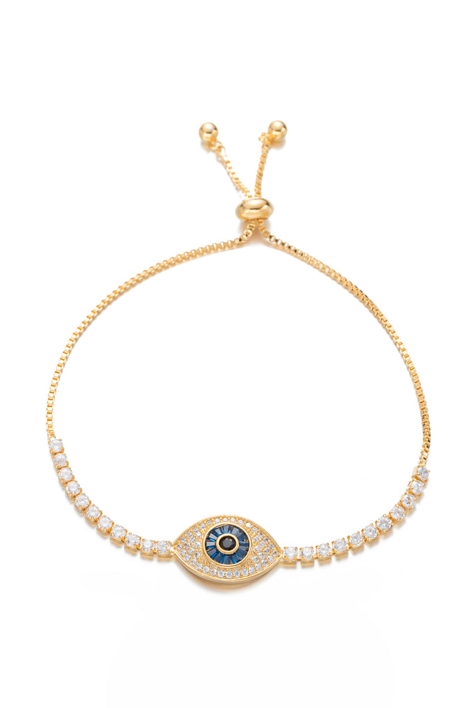 Blue eye 18k gold plated adjustable bracelet studded with CZ crystals.