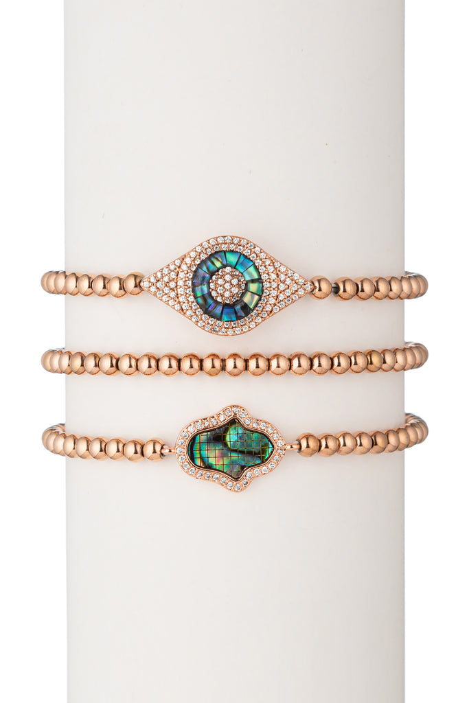 Laila Beaded Bracelet Set - Rose Gold