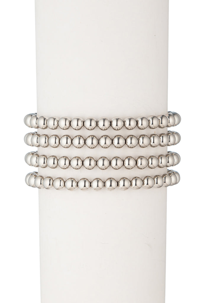 Sophia Beaded Bracelet Set - Silver