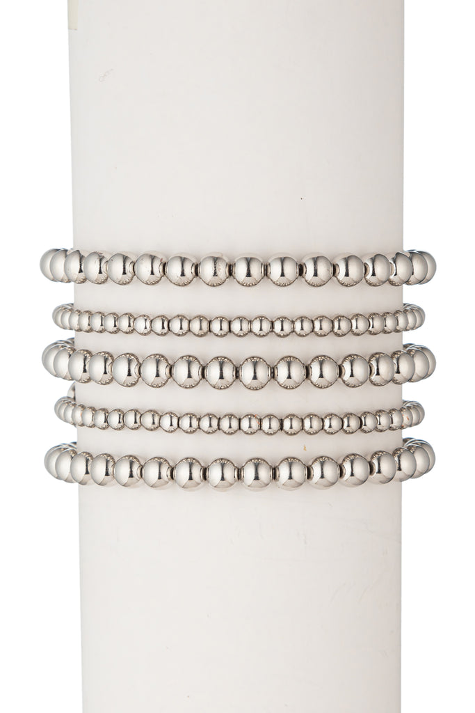 Emma Beaded Bracelet Set - Silver