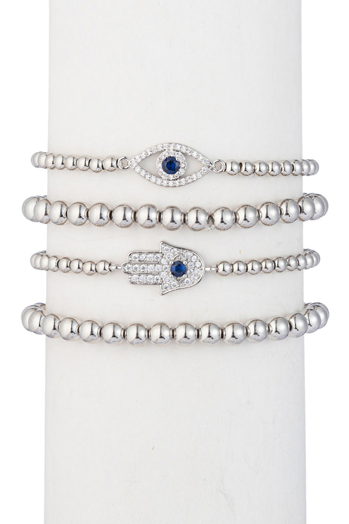 Silver evil eye & hamsa hand beaded bracelet studded with CZ crystals.