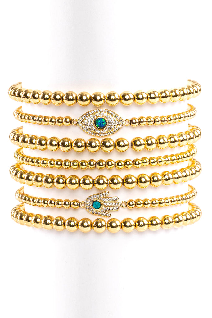 CZ Hamsa Eyes 18k Gold Plated 7 pc Beaded Bracelet Set