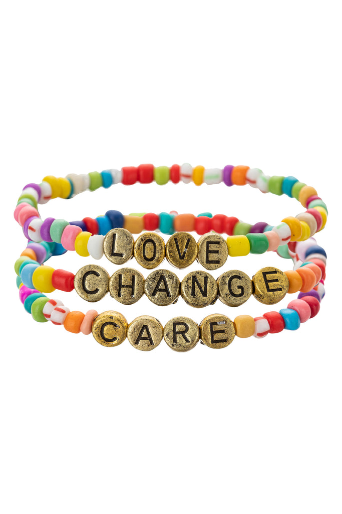 Love, Care, Change Gold Tone Plated Enamel Stretch Bracelet