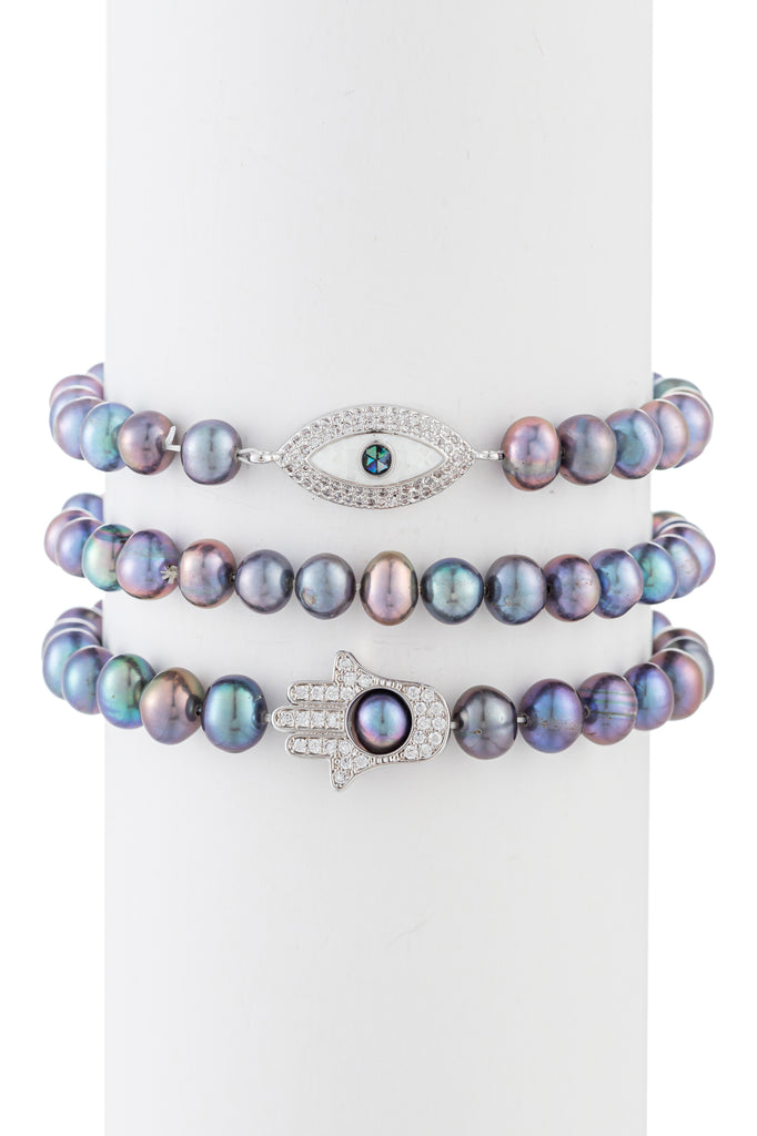 Hamsa & Evil Eye stretch beaded bracelet set.