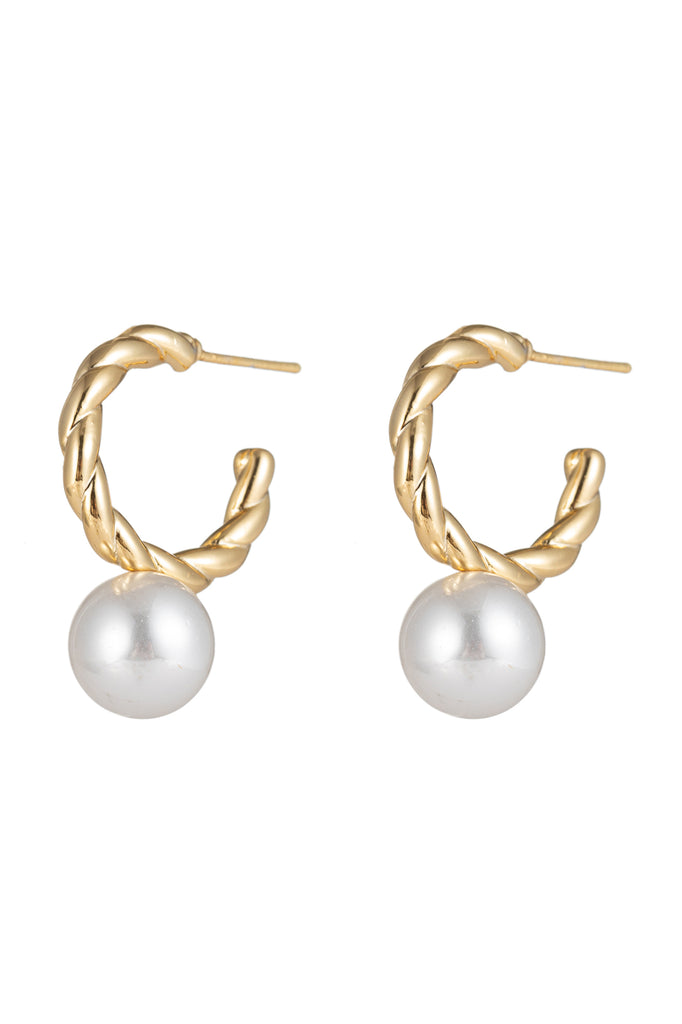 24k gold plated shell pearl loop earrings.