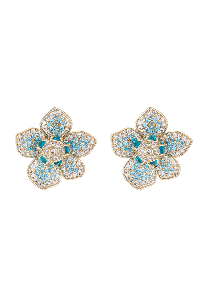 Blue gold flower petal earrings with CZ crystals.