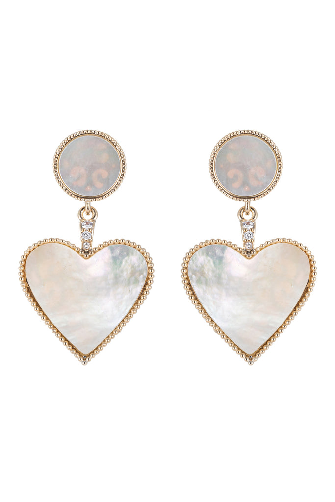 Shell pearl heart earrings studded with CZ crystals.