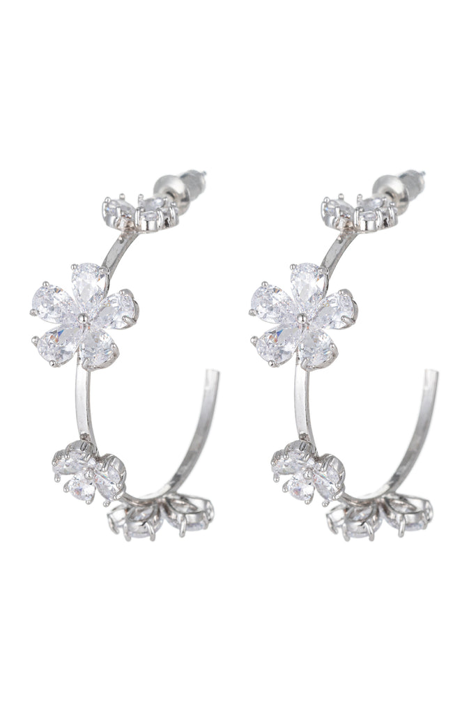 Silver flower earrings studded with CZ crystals.