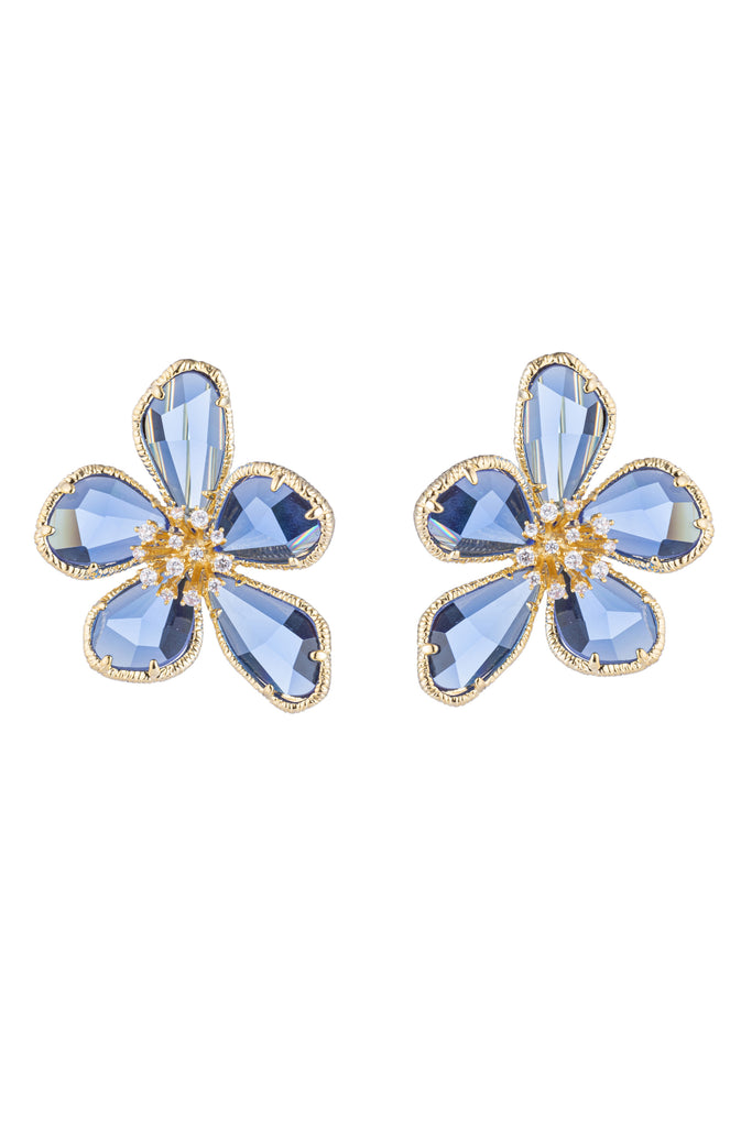 Blue flower earrings studded with CZ crystals.