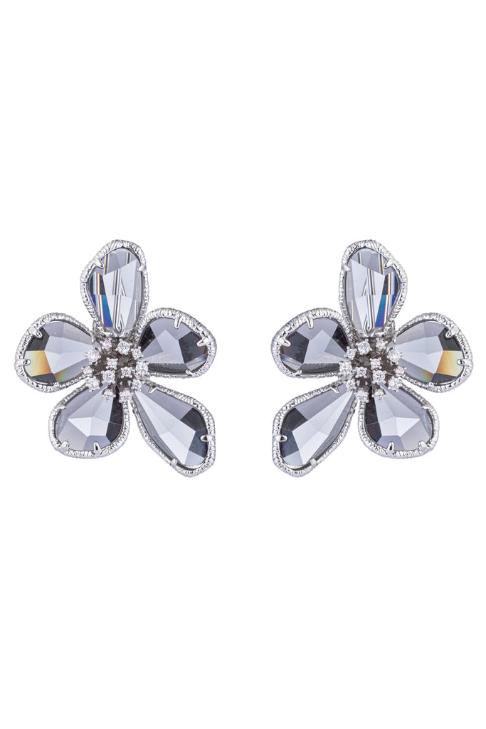 Pair of 1 inch silver flower earrings. Earrings feature 5 grey cubic zirconia petals and studded white cubic zirconia stone center.