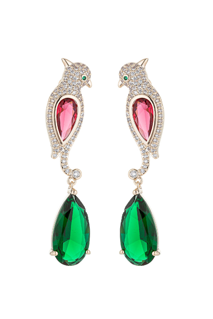 Birdie 18K Gold Plated CZ Crystal Drop Earring
