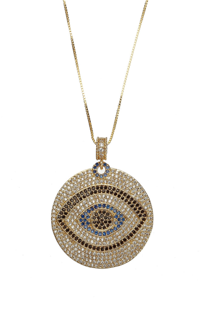Vision CZ Evil Eye Pendant Necklace