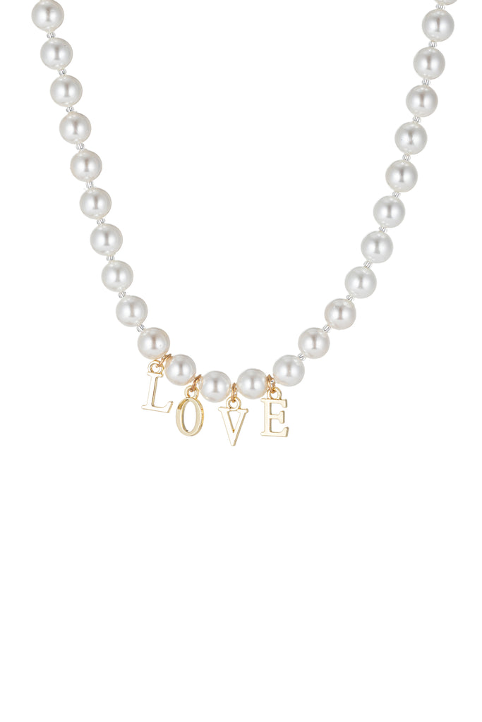 "Shell pearl necklace with pendant that says ""LOVE""."