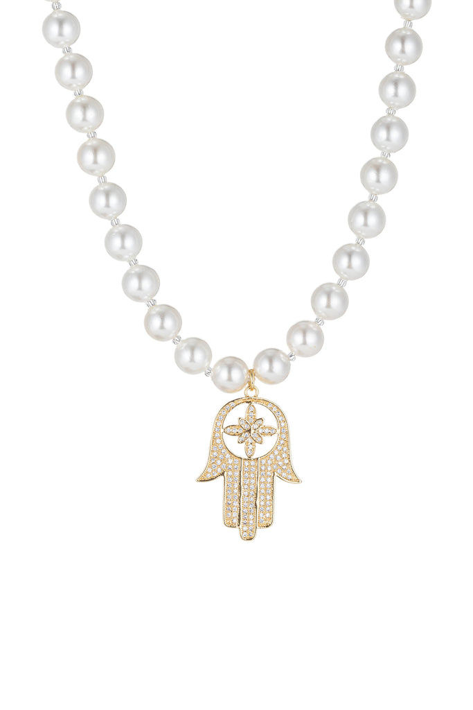 Shell pearl necklace with Hamsa hand pendant.