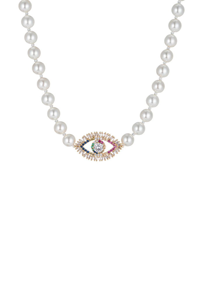 "Rainbow ""Evil Eye"" tear drop necklace with CZ crystals."