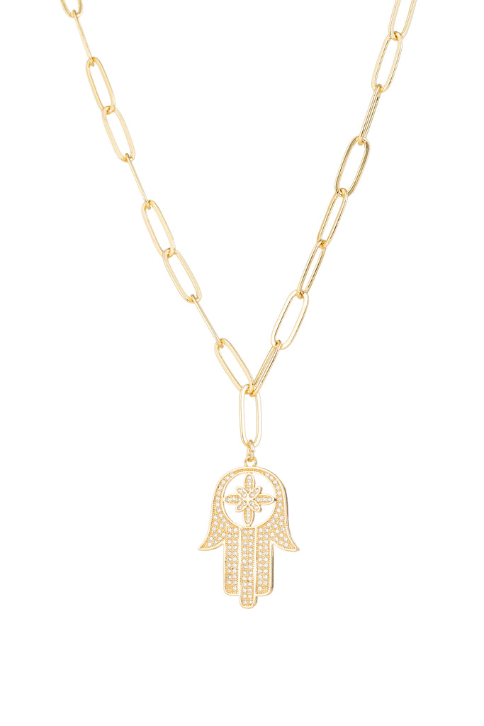 Gold Hamsa Hand chain link necklace with CZ crystals.