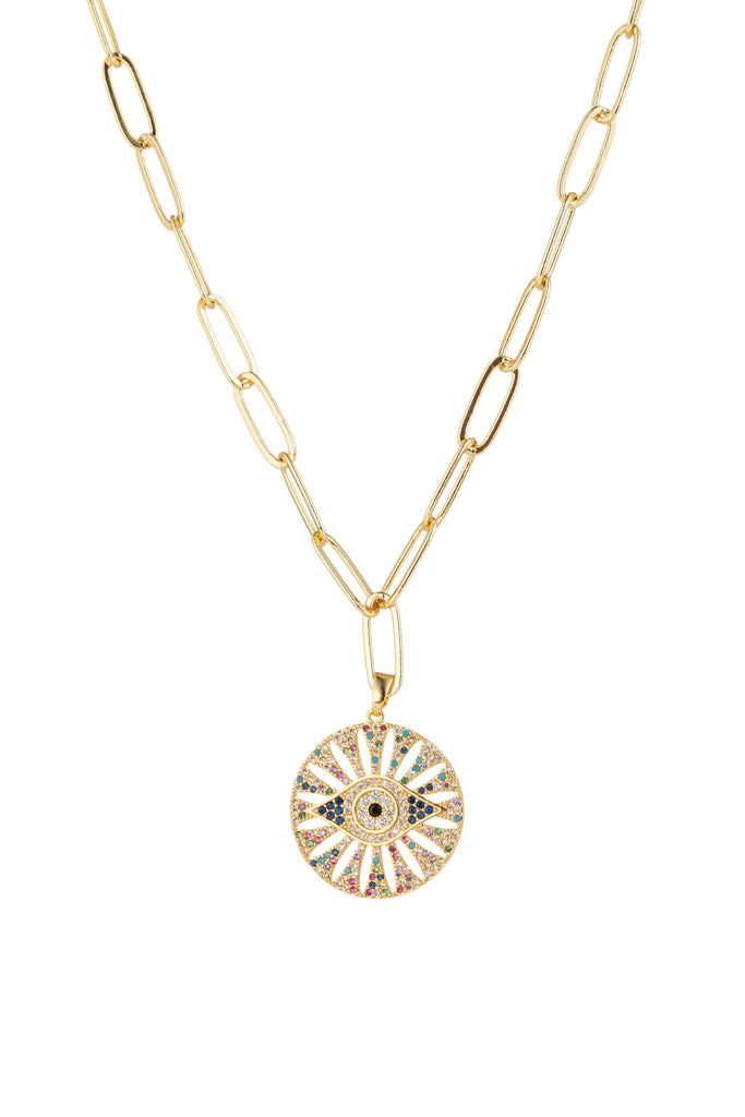 Evil eye titanium charm with CZ crystals on a gold chain link necklace.